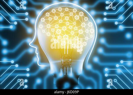 L'apprentissage automatique et l'intelligence artificielle concept. Fintech Financial Technology concept. Le cerveau Banque D'Images