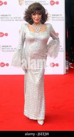14 mai 2017 - Joan Collins à Virgin TV Television Awards BAFTA 2017 au Royal Festival Hall de Londres, Angleterre, Banque D'Images
