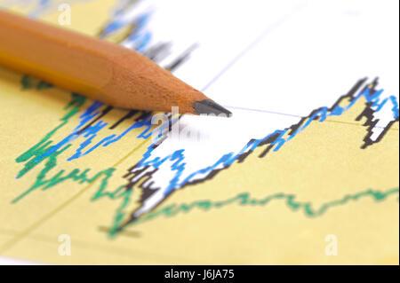 Tableau financier et crayon montre succès au marché de change Banque D'Images