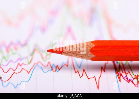 Tableau financier et crayon montre à succès bourse Banque D'Images