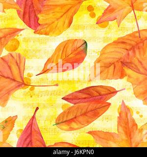 La musique de l'automne, un modèle transparent avec des feuilles d'aquarelle sur l'arrière-plan de couleur d'or Banque D'Images