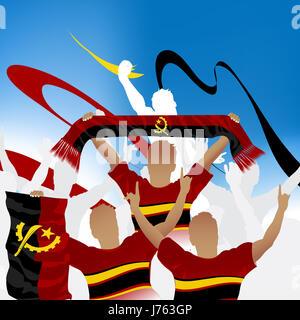 Drapeau angola sport sports les humains les êtres humains personnes personnes folk humaine humaine Banque D'Images