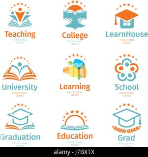Résumé L'éducation et colorés isolé apprendre ensemble logo, de l'université et les livres scolaires, des chapeaux Banque D'Images