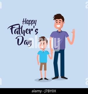 Heureux père avec son fils en le félicitant