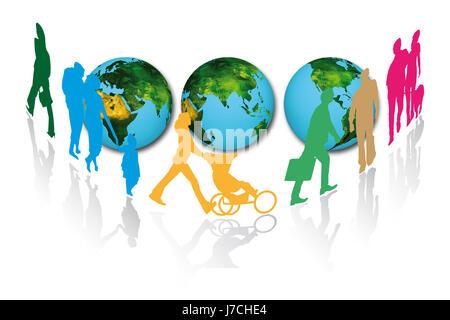 Pays piétonne globe planète terre carte du monde carte de l'atlas de l'Organisation mondiale du commerce Banque D'Images