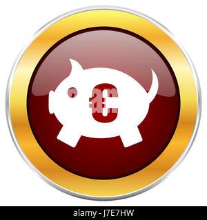 Tirelire icône web rouge avec bordure or isolé sur fond blanc. Bouton brillant rond. Banque D'Images