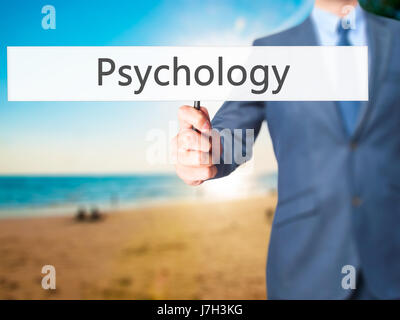 Psychologie - Business man showing signe. Le commerce, la technologie, internet concept. Stock Photo Banque D'Images