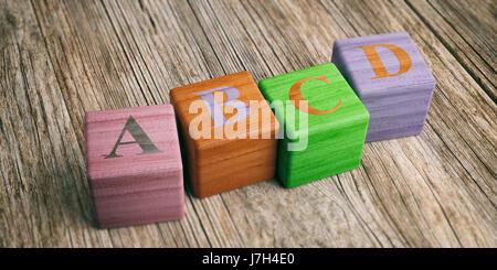 Concept de l'école - lettres abcd sur des blocs de bois. 3d illustration Banque D'Images