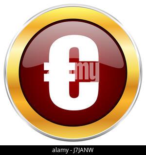 L'icône web rouge Euro avec golden border isolé sur fond blanc. Bouton brillant rond. Banque D'Images