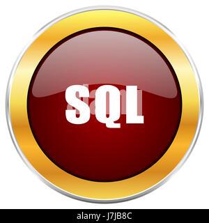 L'icône sql web rouge avec bordure or isolé sur fond blanc. Bouton brillant rond. Banque D'Images