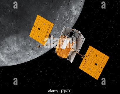 L'espace interplanétaire en orbite autour de la planète Mercure. 3D Illustration. Éléments de cette image fournie Banque D'Images
