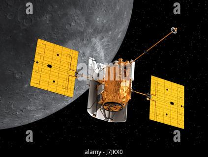 La Station spatiale en orbite autour de mercure interplanétaire. 3D Illustration. Éléments de cette image fournie Banque D'Images