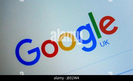 Moteur de recherche google page d'accueil sur internet. Londres, Angleterre, Royaume-Uni Banque D'Images