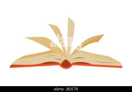 Couverts rouge livre ouvert avec les pages d'un battement Banque D'Images