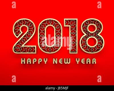 Nouvelle Année 2018 - L'image de rendu 3D Banque D'Images