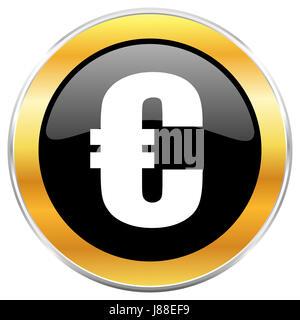 Euro black icône web avec golden border isolé sur fond blanc. Bouton brillant rond. Banque D'Images