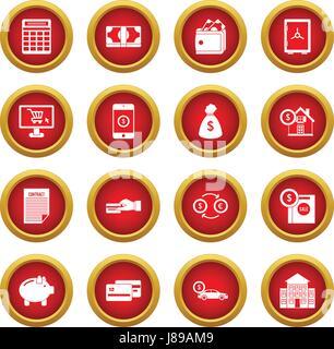 Icône crédit cercle rouge set Banque D'Images
