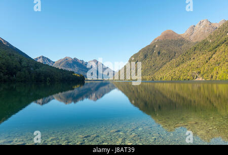 Lake Gunn, reflet dans le lac, Parc National de Fiordland, Southland, île du Sud, Nouvelle-Zélande Banque D'Images