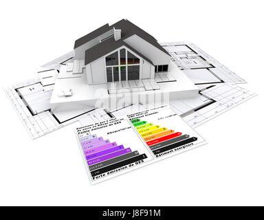 Maison, bâtiment, environnement, environnement, tableau, modèle, design, projet, Banque D'Images