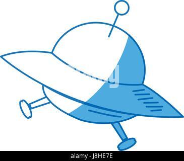 Cartoon ovni espace navire icône transport Banque D'Images