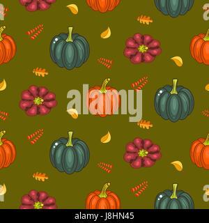 La récolte d'automne modèle vectoriel continu. Citrouilles et feuilles décolorées Acorn répéter l'arrière-plan vert. Banque D'Images