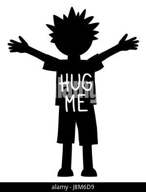 Hug moi écrit sur le jeune garçon à bras ouverts et les mains, noir et blanc
