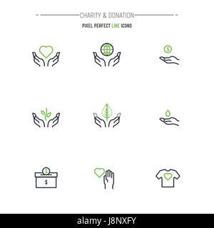 Don de bienfaisance et fine ligne moderne parfait pixel vector icon set. Contours des symboles et de l'emblème de Banque D'Images