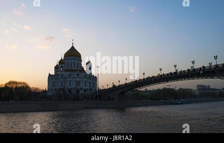 Moscou: Cathédrale de Christ le Sauveur, la plus grande église chrétienne orthodoxe dans le monde, et le Patriarche Banque D'Images