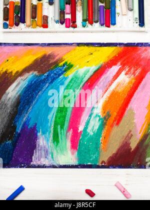 Dessin pastels à l'huile et craies sur fond de bois Banque D'Images