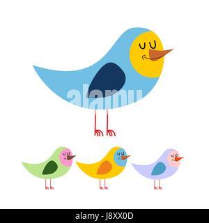 Oiseau avec les yeux fermés. Cute funny bird dort. Animal bec sur un fond blanc dans une variété de couleurs Banque D'Images
