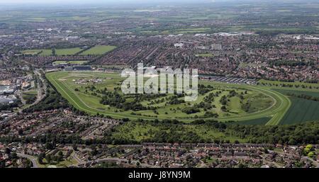 Vue aérienne de l'Hippodrome de Doncaster, accueil de la St Leger course de chevaux, Yorkshire, UK