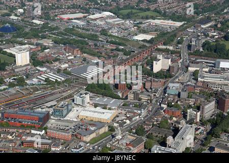 Vue aérienne du centre-ville de Stockport, Greater Manchester Banque D'Images