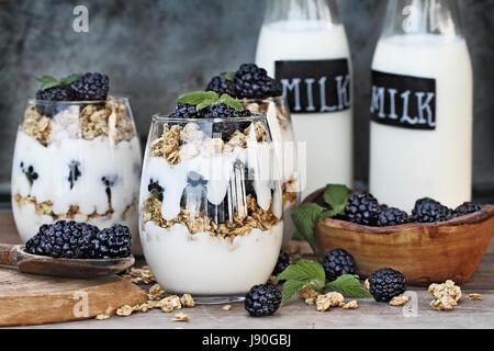 Les parfaits Blackberry fait avec du yaourt grec, granola et de mûres fraîches. L'extrême profondeur de champ avec Banque D'Images