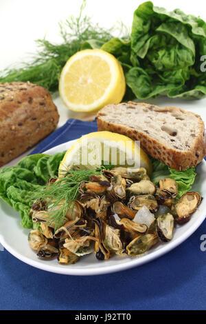 Fruits de mer, des herbes culinaires, mariné, citron, citron, aneth, moules, coques, Banque D'Images
