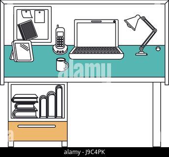 Les sections de travail couleur silhouette home office interior