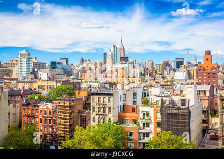 Vue sur la ville de New York Lower East Side à Manhattan. Banque D'Images