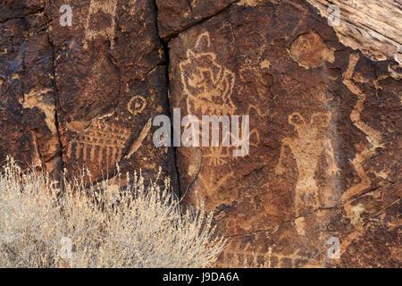 Des pétroglyphes, Parowan Gap, Fer à Repasser County, Utah, USA, Amérique du Nord