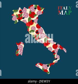 Carte Italie silhouette aux ingrédients pour la pizza: le fromage et les tomates, olives et salami. Banque D'Images