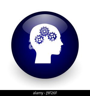 Bleu tête boule brillante icône web sur fond blanc. Rendu 3D ronde bouton. Banque D'Images