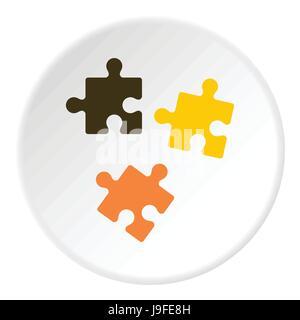 Trois casse-tête, l'icône de style plat Banque D'Images
