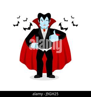 Dracula Thumbs up montre bien. Winks Vampire. Signer tous droit. Jolly Good ghoul. Le mimétisme sourire sur son Banque D'Images