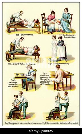 Massage, gymnastique, postures, vintage illustration Banque D'Images