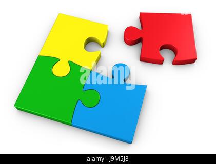 Pièces du puzzle en quatre couleurs différentes d'équipe business concept 3D illustration sur fond blanc. Banque D'Images