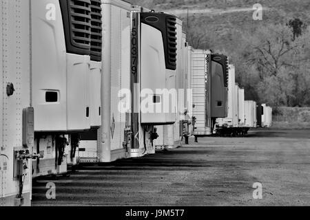 Rangées de semi-remorques attendent leur affectation dans une vieille saleté drop-lot près de Denver, Colorado. Banque D'Images