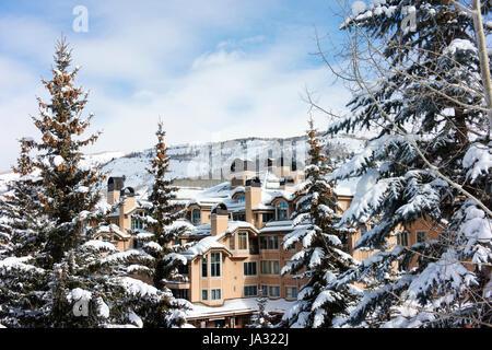 Appartements de vacances à Beaver Creek, une station de ski à proximité de Avon, Colorado. Banque D'Images