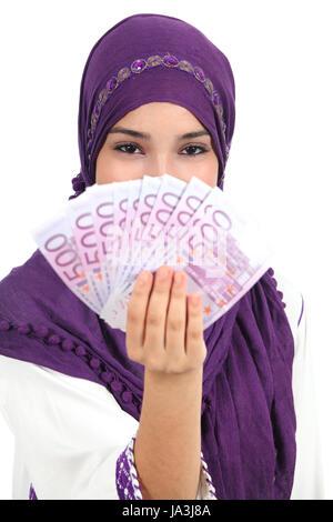 Femme, l'islam, arabe, islamique, les billets, la possession, la détention, l'argent, femme, Banque D'Images