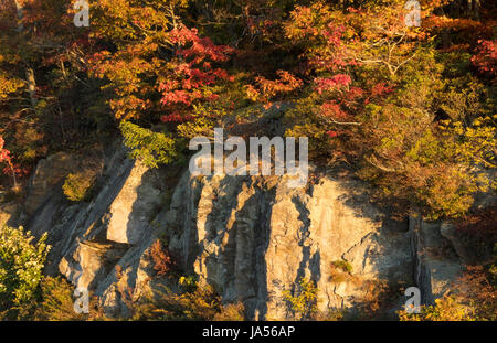 North Brevard près d'Asheville Caroline Couleurs Automne falaises de la route Blue Ridge Banque D'Images