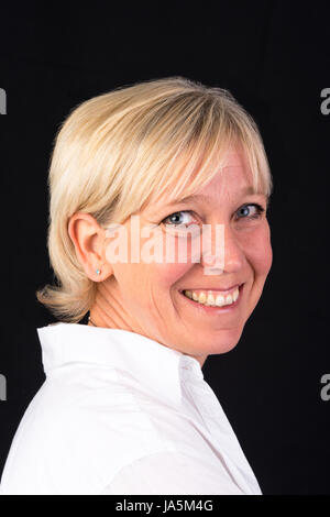 Belle caucasian woman in white shirt, portrait Banque D'Images