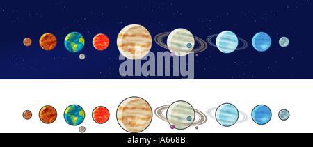 Planètes du système solaire. L'espace, univers, galaxie concept. Vector illustration Banque D'Images
