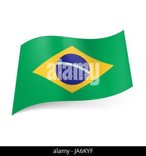 Drapeau national du Brésil: cercle bleu avec ciel étoilé et avec bande jaune dans la devise de losange sur fond Banque D'Images